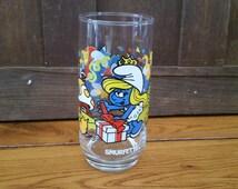 Vintage Smurfs Smurfette Birthday Collectors Glass 1983
