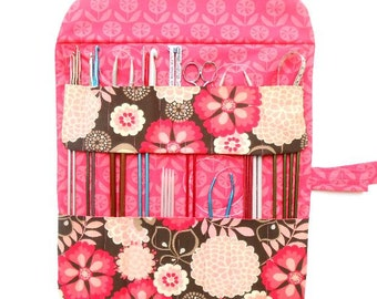 Pink Knitting Needle Roll, Scratch and Dent Sale, Crochet Hook and DPN Double Pointed Needle Holder, Pencil and Brushes Storage Organizer