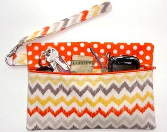 Orange Yellow Wristlet, Zig Zag Print Clutch, Polka Dot Womens Wallet, Grey Small Zip Front Purse, Orange Phone or Makeup Bag, Camera Case
