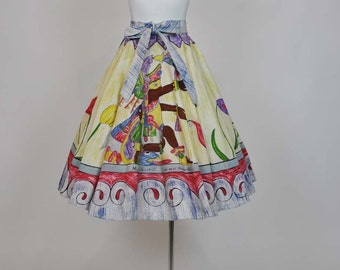 1950s circle skirt / Mayan God Vintage 50's Mexican Hand Painted Novelty Print Full Circle Skirt