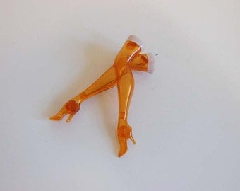 30s brooch / Vintage 1930's Celluloid Stocking in Heels Legs Pin