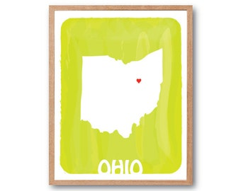OHIO MAP - Lime Green - Personalized Custom Color Watercolor Style State Map Wedding Birthday Anniversary GIft Children Kids Wall Poster