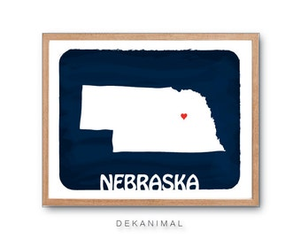 NEBRASKA - Evening Blue - Personalized Custom Color Watercolor Style Love Wedding Birthday Anniversary GIft Children Kids poster