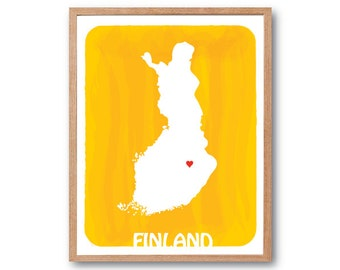 Finland Map - Personalized gift, Wedding GIft, Birth Stats, kids room wall, travel map, watercolor Map, world map watercolor