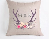 Personalized Monogrammed Antlers Wedding Gift Pillow Cover Pillow Case