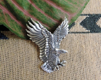 Large Eagle Pendant Charm Sterling Silver