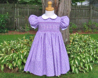 Lavender dress, Girls smocked dress, Size 2T, White flowers, Ready to ship, Heirloom dress, Party dress, Handmade, Special Occasion, Classic