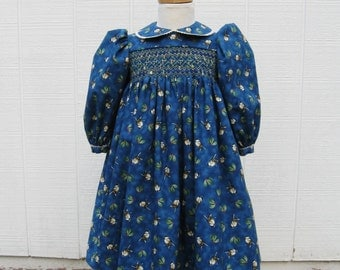 Smocked Toddler winter dress, Size 2T, blue dress, chickadees, holly berries, long sleeves, ready to ship, OOAK, winter birds, heirloom