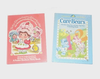 1980s Care Bears and Strawberry Shortcake book / 80s children's book /  Care Bears Counting and Baby Strawberry Shortcake Storybook Set of 2