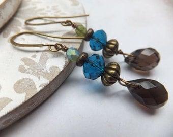 Blue Crystal and Smokey Quartz Nickel Free Earrings
