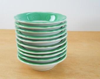 Vintage Restaurant Ware Bowls • Shenango China Bowls • Vintage Green Trim Small Bowls