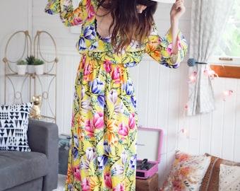 Floral maxi dress, backless, summer dress, bright floral, tropical print dress, vacation dress, boho prom, bridesmaid dress, prom dress