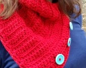 Buttoned Up Neck Warmer Cowl Infinity Scarf Red Scarf Neck Warmer Cowl With Buttons