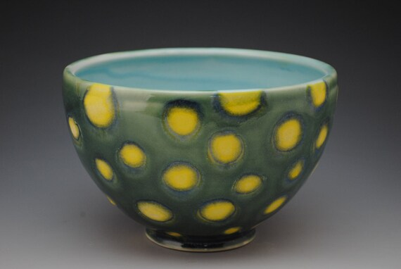 Green and Yellow Spotted Serving Bowl