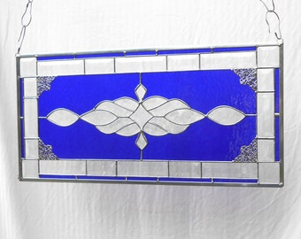 Beveled Diamonds Traditional Crystal Clear Stained Glass Panel