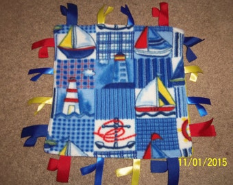Handmade, Ribbon Blanket, Sailboats/Lighthouses, Yellow backing