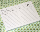 Recipe Cards- Set of 50- Super Cute-Monogramed to Your Letter Choice