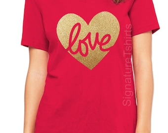 Valentines Day Shirt, Womens V Neck, LOVE tshirt, Heart Shirt, Valentines Shirt, Heart of gold, Valentine T-Shirt, Glitter, Gold, forever