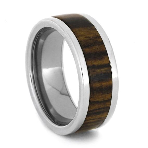 Mens Wood Wedding Band, Titanium Ring Inlaid With Bocote Wood, Alternative Wedding Band