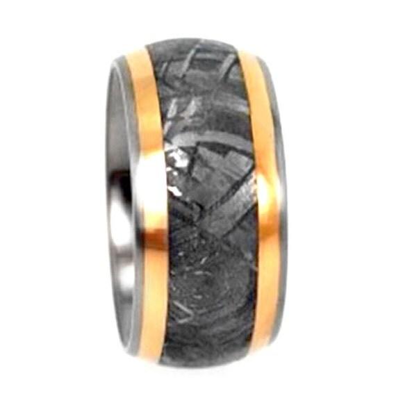 Meteorite Wedding Band With 18k Yellow Gold Pinstripes, Titanium Ring
