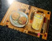 Iced Soybean Milk + Salt Shortbread with Sesame and Green Onion = Postcard