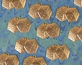 Set of 12 Brass Double Dice Charms