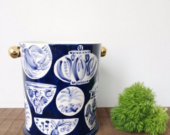 Handmade, Pottery, Planter, Ice Bucket Freer House, Preppy, Graphic Pattern, Blue