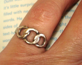 vintage sterling silver 3 circles unity eternity finger or toe ring size 4