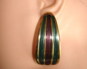 vintage red and green inlay stripes gold pierced half hoop earrings