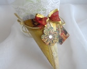 Tussie Mussie Victorian Inspired Gift Cone One Of A Kind Box Tree Ornament Candy Cone Favor Ribbons And Lace Handmade by handcraftusa Etsy