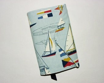 Paperback Book Cover Fabric Bookcover Sleeve Holder Book Bag Standard Size– Blue Sailboat Nautical Print