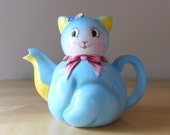 Vintage Norcrest Blue Kitty Cat Ceramic Teapot - Stock Number CT-1 - Made in Japan
