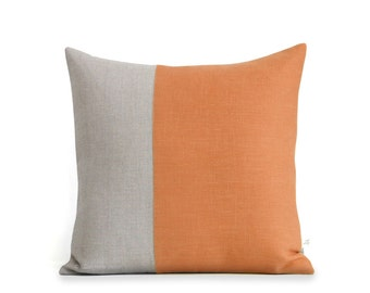 Pumpkin Orange and Natural Linen Pillow Cover (18x18) by JillianReneDecor, Two Tone Colorblock Pillow, Autumn Decorative Pillows FW2015