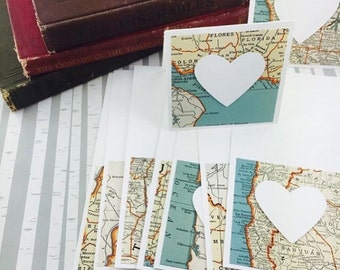 Mini Heart Cards Map Globetrotter Collection Set of 9