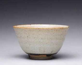 handmade ceramic tea bowl, teacup, chawan, small pottery bowl with orange shino and ash glazes