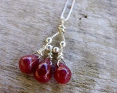 Ruby Necklace, Ruby Briolette Necklace, Sterling Silver Necklace