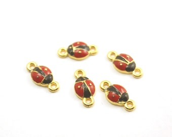 5pc- Matte Gold Plated Mini Lady Bird, ladybugs Charm, Connector-13x10mm-(021-044GP)