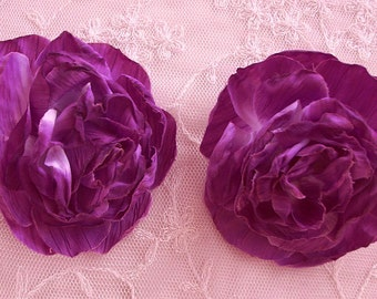 SALE Cabbage Rose Fabric Flower Applique 2pc PURPLE Crinkle Victorian Hat Corsage