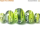 ON SALE 30% OFF Five May Day Party Graduated Rondelle Beads - Handmade Glass Lampwork Bead Set 10506911