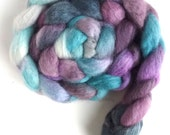 BFL Wool Roving - Hand Painted Spinning or Felting Fiber, Fountain Lights