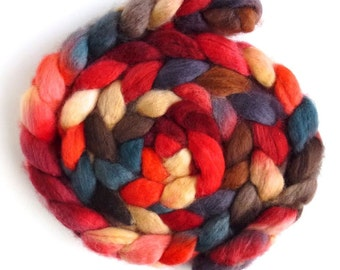 BFL Wool Roving - Hand Painted Spinning or Felting Fiber, Fall Chatter