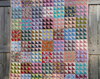 Nine Patch Points authentic American Patchwork Quilt Hand quilted ~ homegrown original ~ OOAK wall hanging lap quilt or table topper