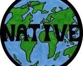 native of earth 4 inch sticker