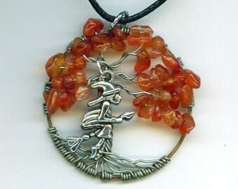 Witch Flying Carnelian Pendant Tree of Life