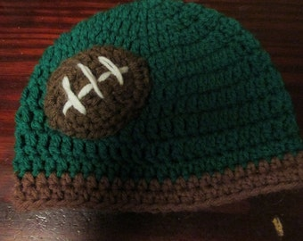 Baby Size Football Fan Beanie Style Hat Green and Brown Newborn size