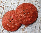 167. Autumn Is in the Air Autumn Orange Red Two Large Stoneware Textured  Four Hole Buttons