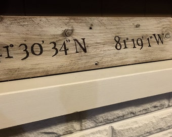 Custom coordinates sign - rustic wall decor - personalized gift - wood location sign