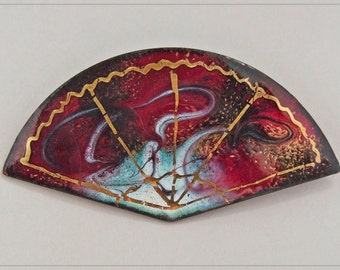 Mid-Century Signed Abstract ENAMEL over Copper FAN Shaped BRooCH PIN Near Fine