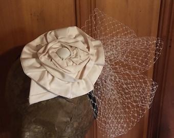 Ivory Silk Bridal Fascinator Birdcage Veil