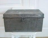 Vintage Metal Box Bin Trunk Large Industrial Silver Storage